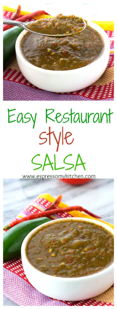 Easy Restaurant Style Salsa | This salsa is quick to make and delicious. Adds the perfect amount of heat to any dish| espressomykitchen.com